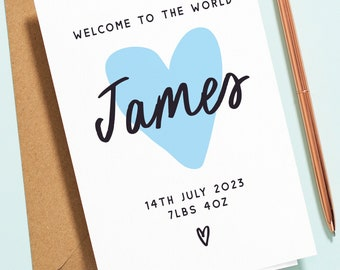 Personalised Baby Boy Card, Blue Heart Baby Congratulations Card, New Born Baby Card, with Custom Name, Date and Weight NB030