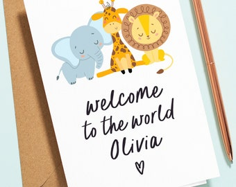 Personalised Welcome To The World Baby Card, Jungle Baby Shower Card, Safari Pregnancy Card, Baby Boy, Baby Girl, Unisex Baby Card NB025
