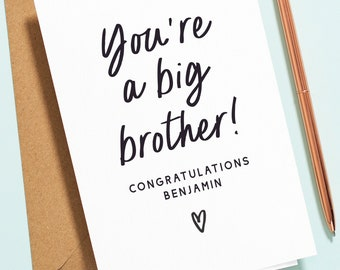 Personalised Congratulations On Becoming A Big Brother Card, New Baby Card, New Sibling Card, New Baby Card for Brother, New Born NB033