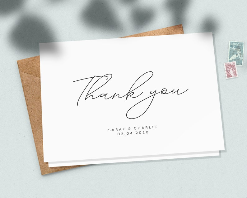 Folded Wedding Thank You Card Set  #098 Custom Wedding Thank You Card Pack Wedding Thank You Note Folded Wedding Thank You Cards