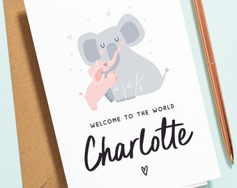 Personalised Baby Girl Card, New Baby Card For Girl, Pink Baby Elephant Card, Baby Congratulations Card, Welcome to the World, Newborn NB010