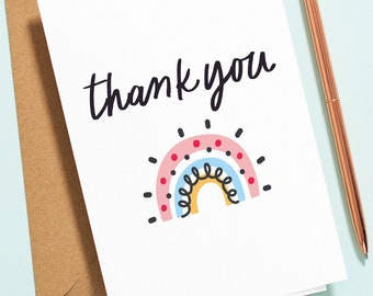 Simple Rainbow Thank You Card, Supportive Card For Friend, Sister, Mum, Dad, Special Card For Best Friend TY015