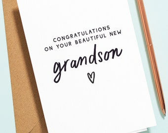 Personalised New Grandson Card, New Grandparents Card, Baby Boy Card, New Grandchild Card, Congratulations Grandparents, New Born Card NB024