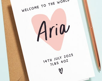Personalised Baby Girl Card, Pink Heart Baby Girl Congratulations Card, New Born Baby Girl Card, with Custom Name, Date and Weight NB031