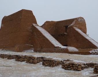 Winter snow on the ruins of Mission Nuestra Señora de los Ángeles de Porciúncula de los Pecos