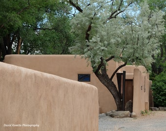 A classic adobe seen from the famous Canyon Road in Santa Fe