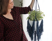 IN STOCK Macrame Blue Fringe Plant Hanger, Macrame Trim Plant Hanger, Hanging Planter, Big Plant Hanger, Cotton Cord Hanger, Eco-friendly