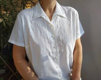 1940s blouse pleated back button brown taffeta Koret California Size SM