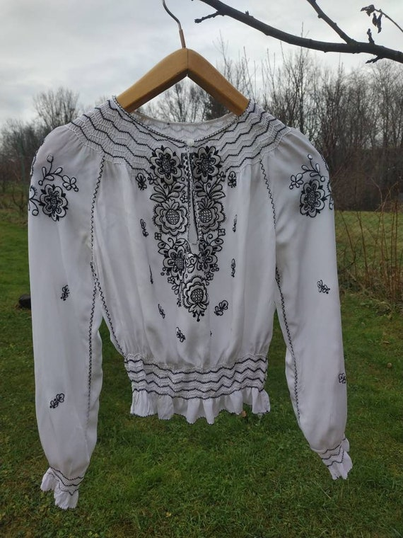 Hungarian peasant blouse. 40s silk crepe hand embr