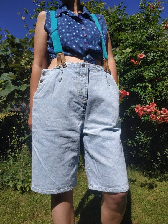 Light blue denim jumpsuit bermuda shorts. Womens s