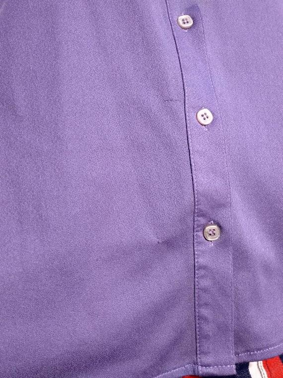 Vintage 70s lilac sleeveless ruffled blouse. M si… - image 9
