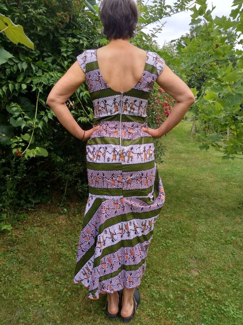 Vintage hand made African ethno style colourful dress with wide hardness.