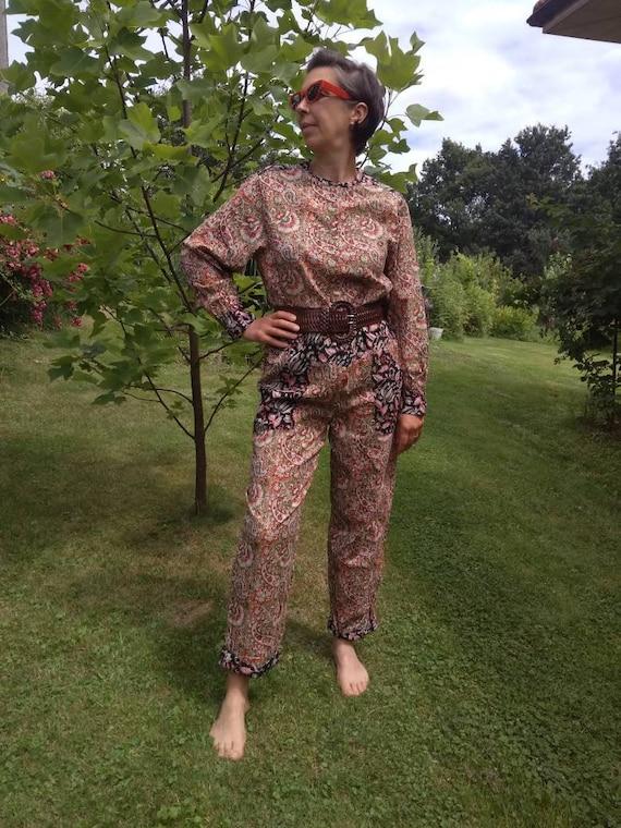 Vintage 80's Bohemian jumpsuit. Indian cotton bloc