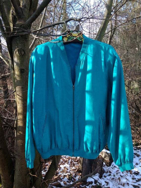 Vintage 80's electric blue silk bomber.