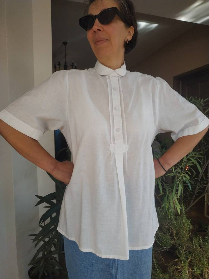 White cotton half sleeve blouse L size Vintage  G\u00f6ssl Austrian folk style blouse