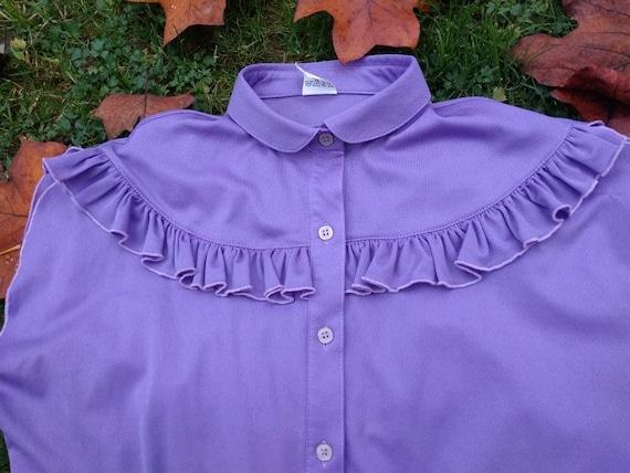 Vintage 70s lilac sleeveless ruffled blouse. M si… - image 5