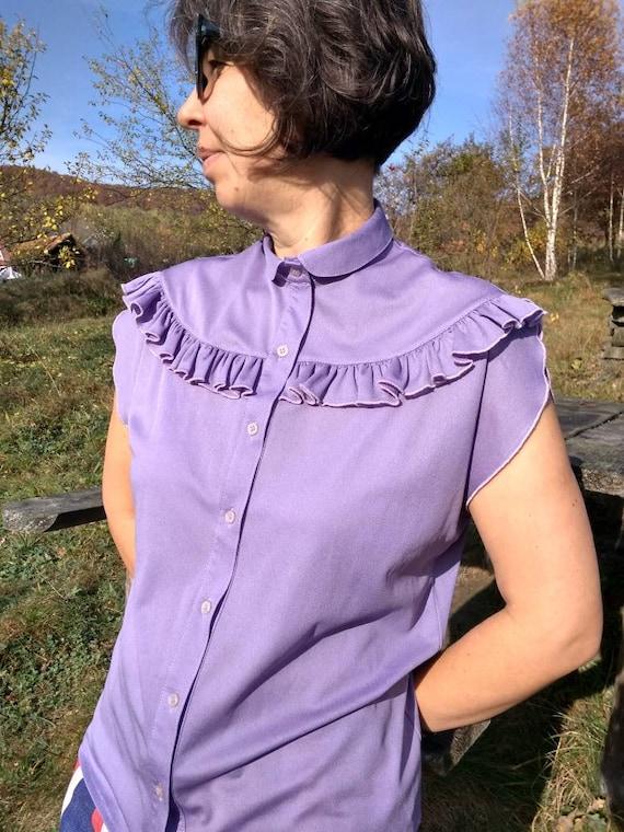 Vintage 70s lilac sleeveless ruffled blouse. M si… - image 8