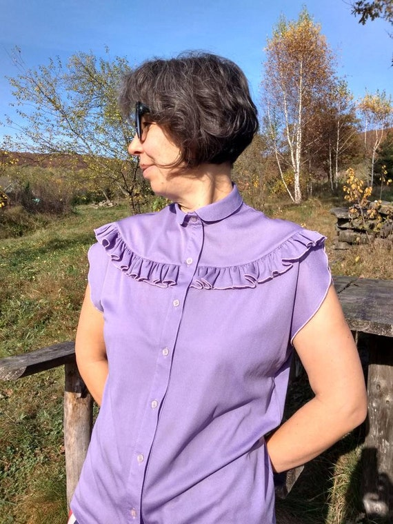 Vintage 70s lilac sleeveless ruffled blouse. M si… - image 6