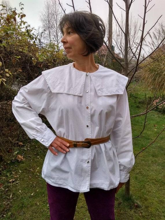 Vintage 80s white cotton blouse with sailor collar