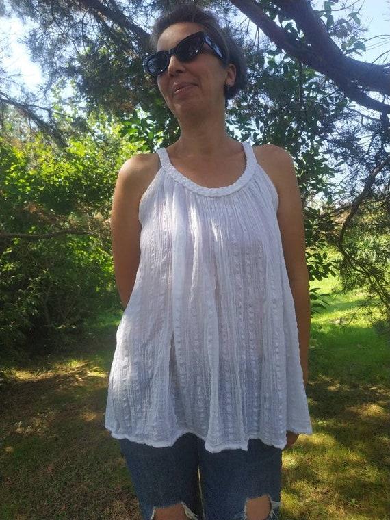 Vintage Greek white gauze top. BOHO gauze sleevele