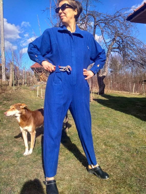 Vintage 80s womens coverall. Blue cotton workwear