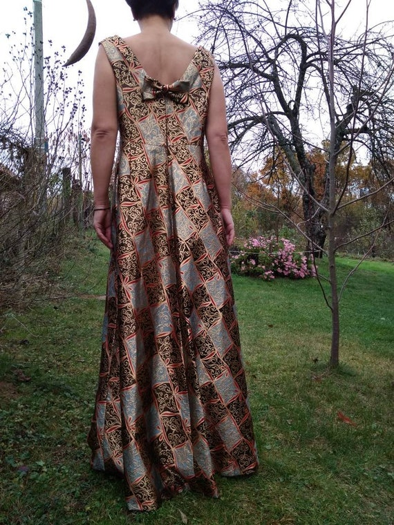Vintage 70's does 50's brocade evening gown. Holly