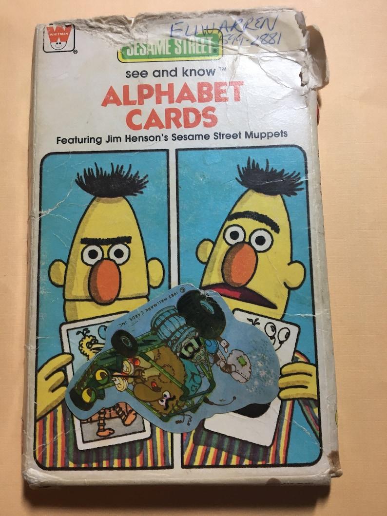 25 Sesame Street See and Know Alphabet Cards Jim Henson's Muppets Ephemera  Junk Journal Bert Ernie Cookie Monster Big Bird Grover