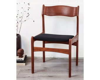 Set of 4 teak solid wood chairs Danish Design chair wood black skandi mid century vintage retro wooden chair hygge fabric upholstered chair chairs