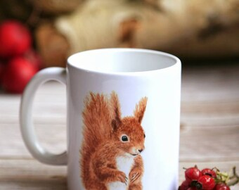 Cup / Ceramic Cup with Lively Squirrel - Bestseller Autumn Decoration Christmas Gift Bright Days