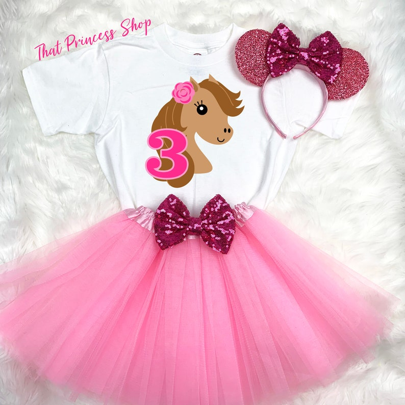 Cowgirl Pony Pink Purple Girl 3rd Third Birthday Tutu Outfit Set Shirt Party