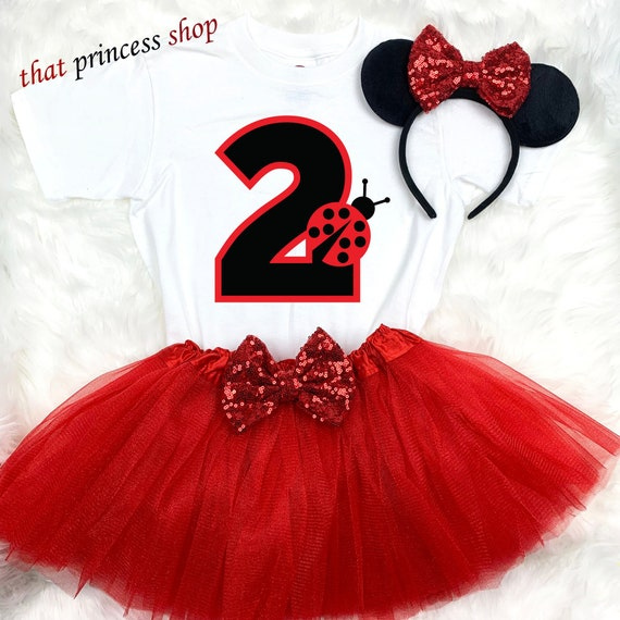 Polka Dots Red Ladybug Lady bug 1st First Birthday Tutu Outfit Shirt Set Party