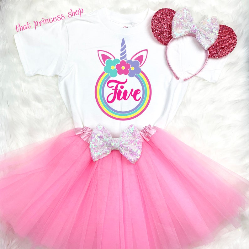 5th Fifth Birthday Baby Girl Tutu Outfit Shirt Rainbow Purple Pink Cupcakes
