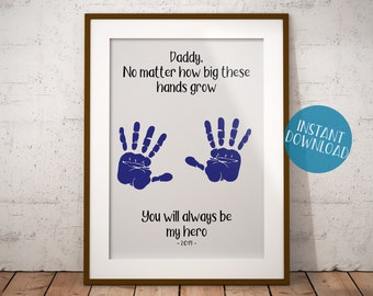 Fathers Day Gift From Son Custom Dad Printable Hand Print My Hero Birthday For