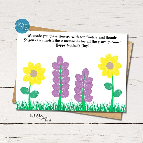 Mothers Day card Toddler Craft Flower Fingerprint Art DIY