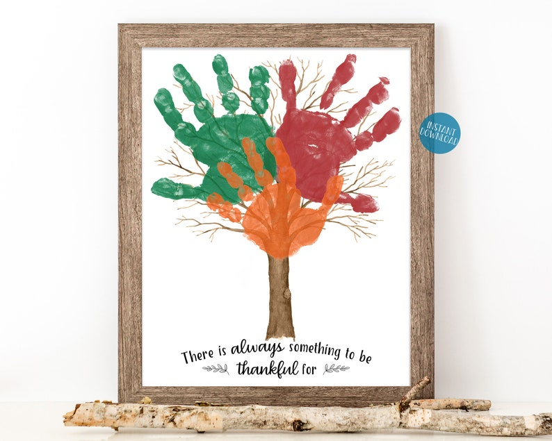 Thanksgiving Kid Craft Handprint Tree Art Gift for Mom image 0