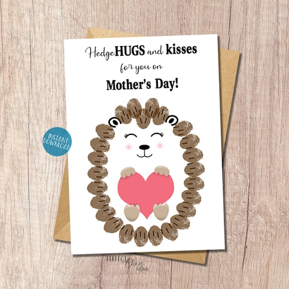 Hedgehog Mother's Day card Toddler Craft Fingerprint
