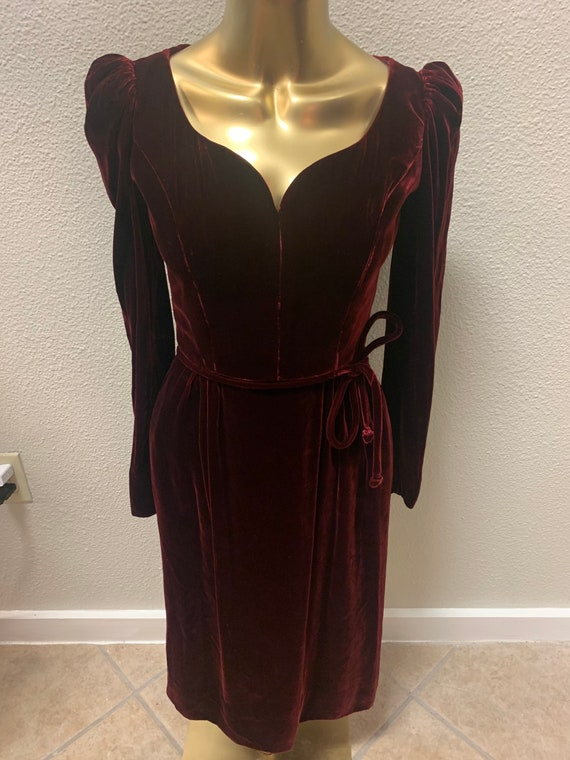 Vintage Victor Costa Burgundy Velvet Dress/ Velvet