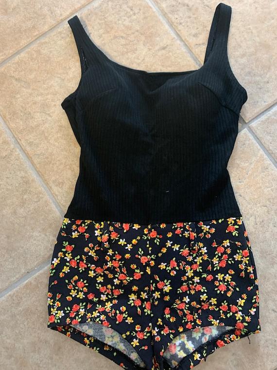 60's Floral Hot Pants Swimsuit / 60's One Piece Fl
