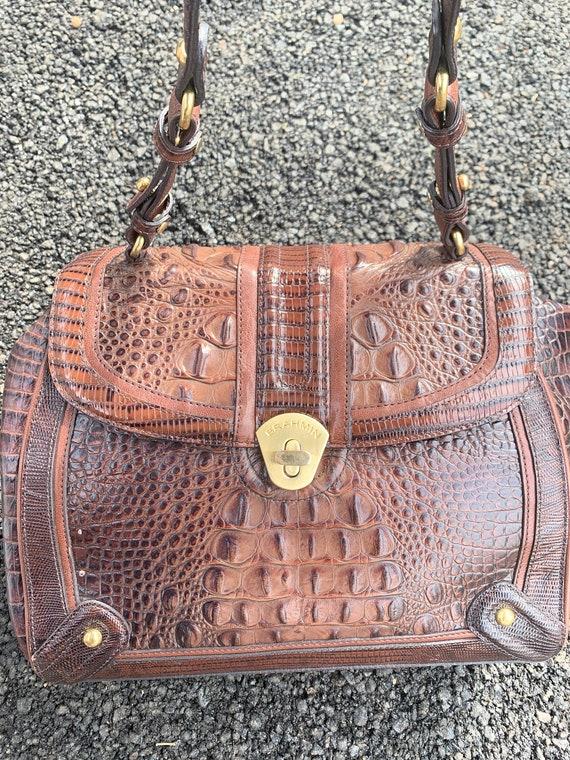 Vintage Brahmin Brown Leather Alligator Shoulder B