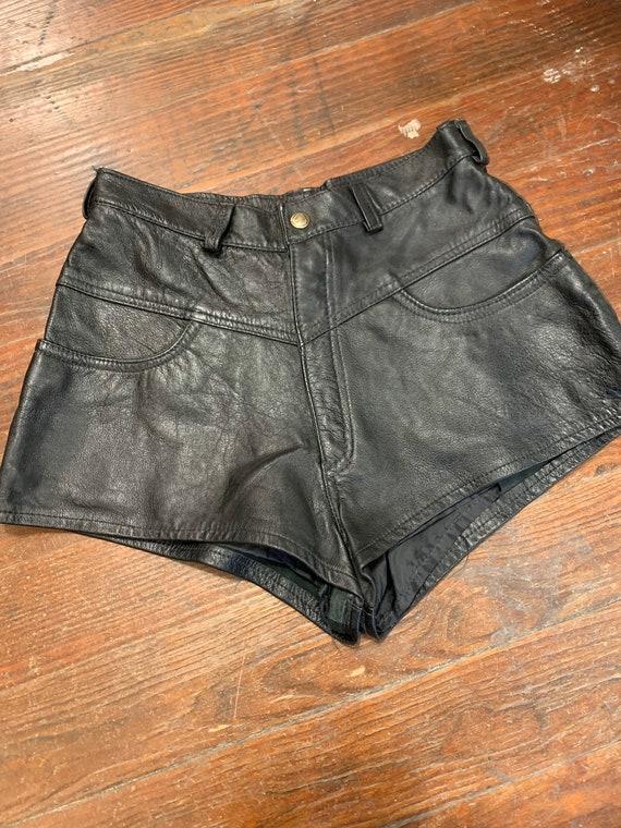 80's Vintage Leather Hot Pants / Vintage Biker Chi