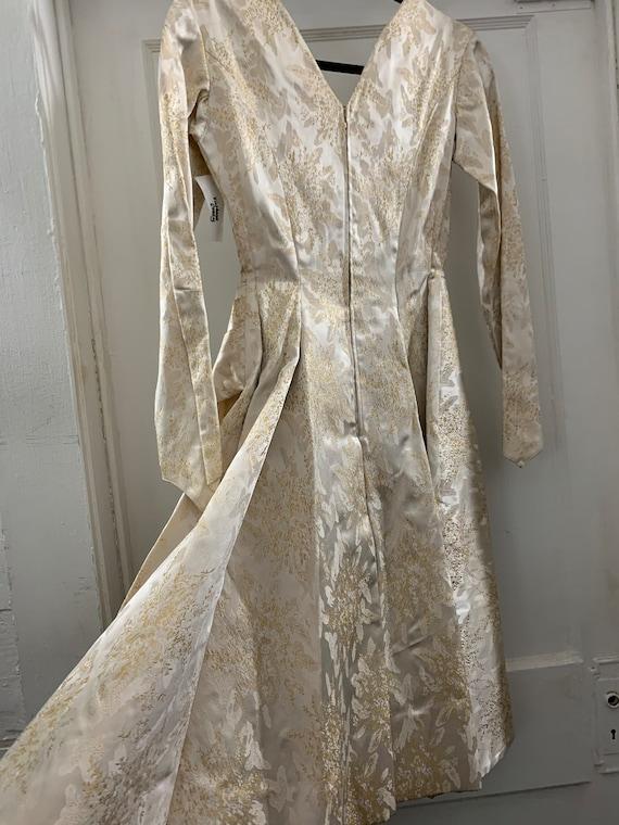 Brocade 40s handmade wedding dress/40s brocade wi… - image 3