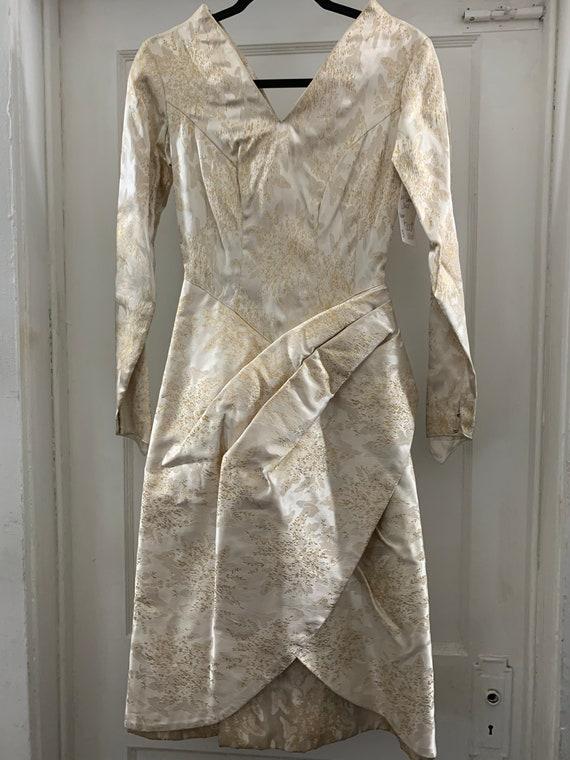 Brocade 40s handmade wedding dress/40s brocade wi… - image 2