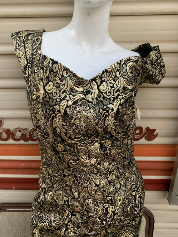 Vintage 60's Gold With Black Brocade Dress / Sexy