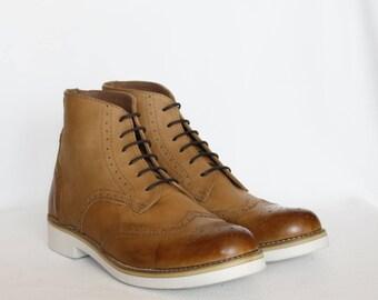 9f2d85f1f Handmade Women Leather Wingtip Urban Boots