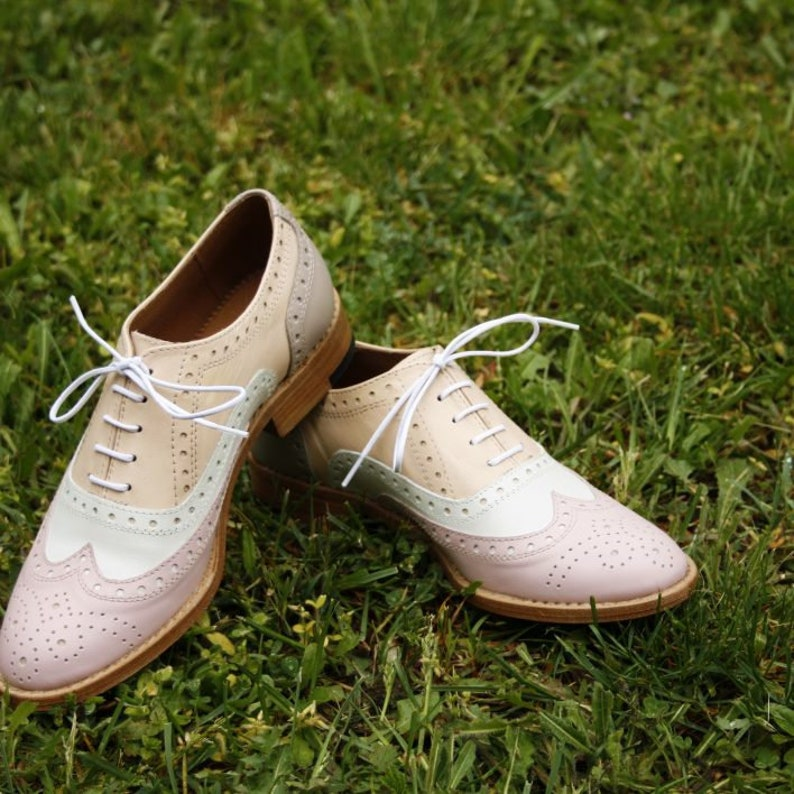 0b80d06ee538e Three Tone Handmade Oxford Wingtip Women Leather Brogues Shoes