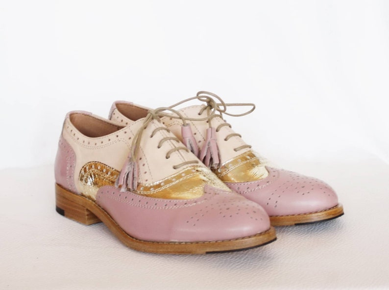 9d82d45b9e349 Three Tone Oxford Wingtip Women Leather Wedding Dress Brogues Shoes