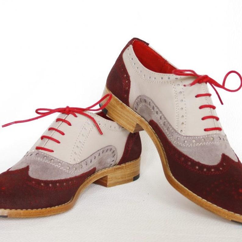 421e263cb8697 Three Tone Oxford Wingtip Suede & Calf Leather Handmade Brogues Shoes