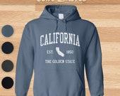 California Hoodie Vintage Athletic Sports Design Hooded Sweatshirt (Unisex)