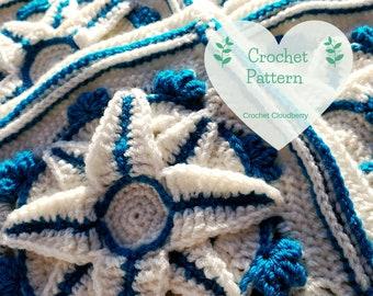 Sapphire Star Granny Square Pattern, Crochet Square Pattern,  Afghan Block, Crochet Square Tutorial