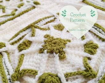 Emerald Granny Square Pattern, Crochet Square Pattern,  Afghan Block, Crochet Square Tutorial